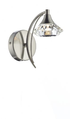 Luther Single Wall Bracket complete with Crystal Glass Satin Chrome (Double Insulated) BXLUT0746-17